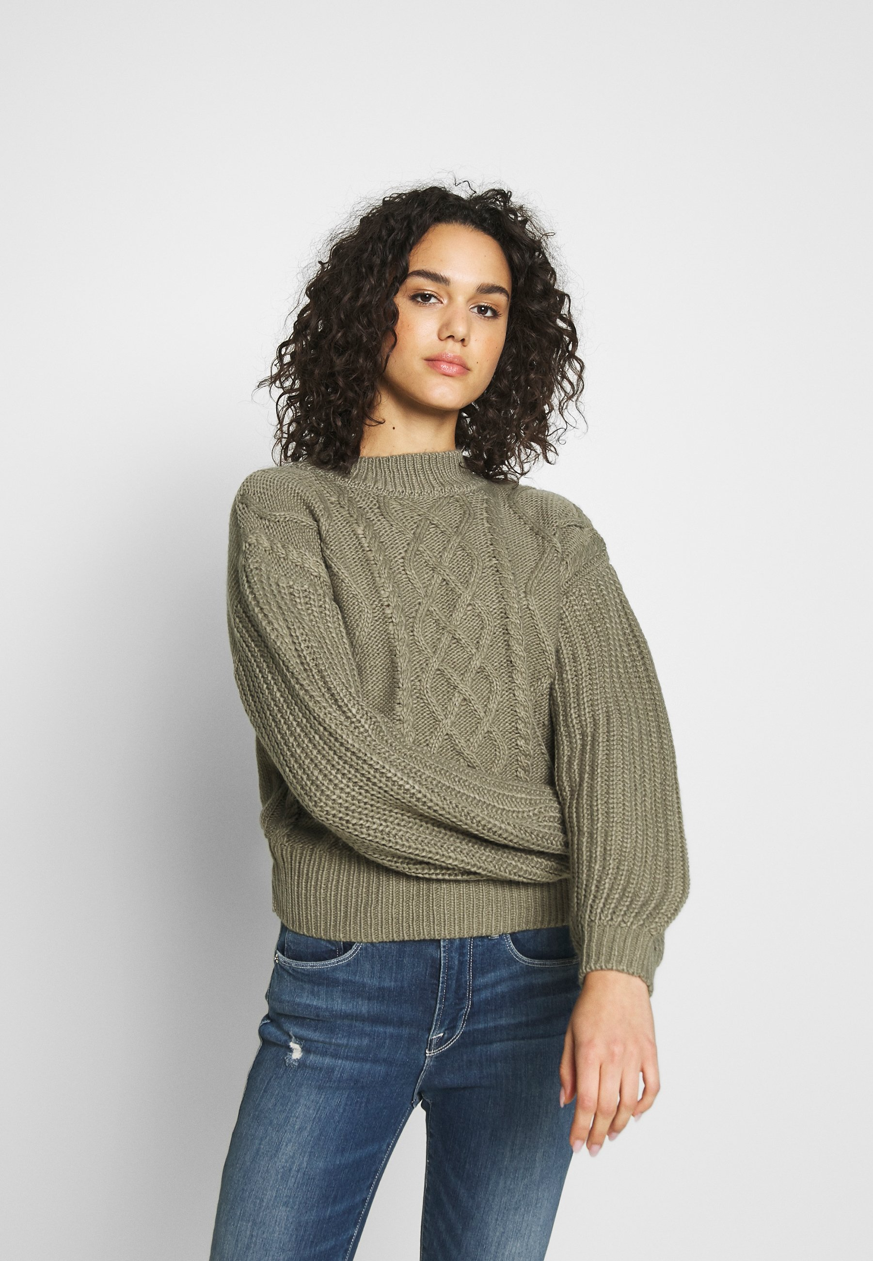 NA-KD CABLE BALLOON SLEEVE - Sweter - khaki