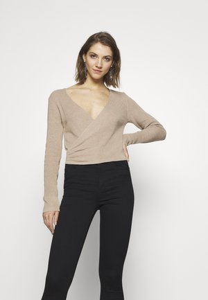 OVERLAPPED RIBBED - Jumper - beige