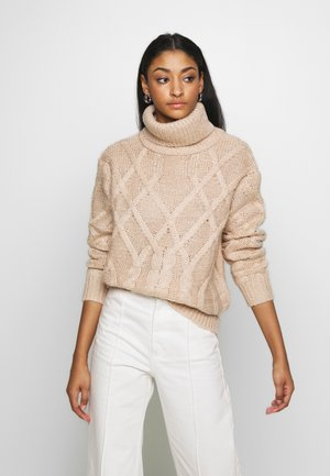 CABLE HIGH NECK - Pullover - light beige