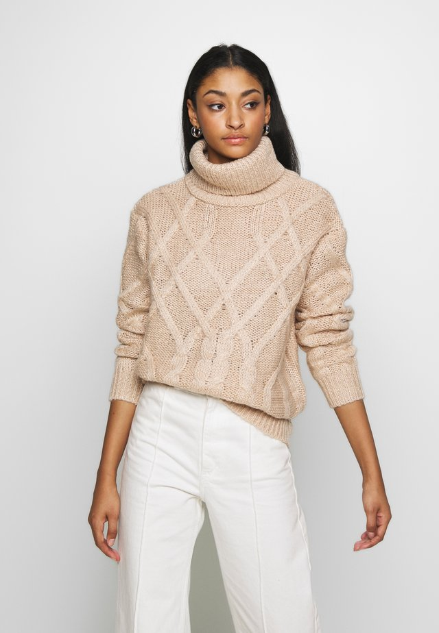 CABLE HIGH NECK - Neule - light beige