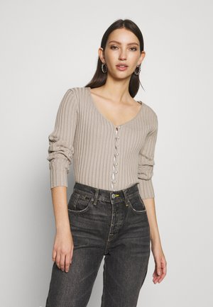 PEARL DETAILED CARDIGAN - Cardigan - light beige
