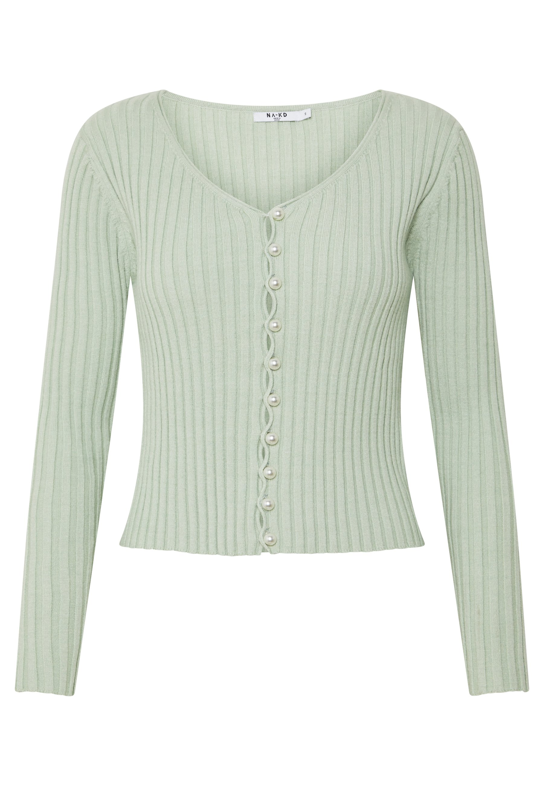 NA-KD PEARL DETAILED CARDIGAN - Cardigan - dusty light green