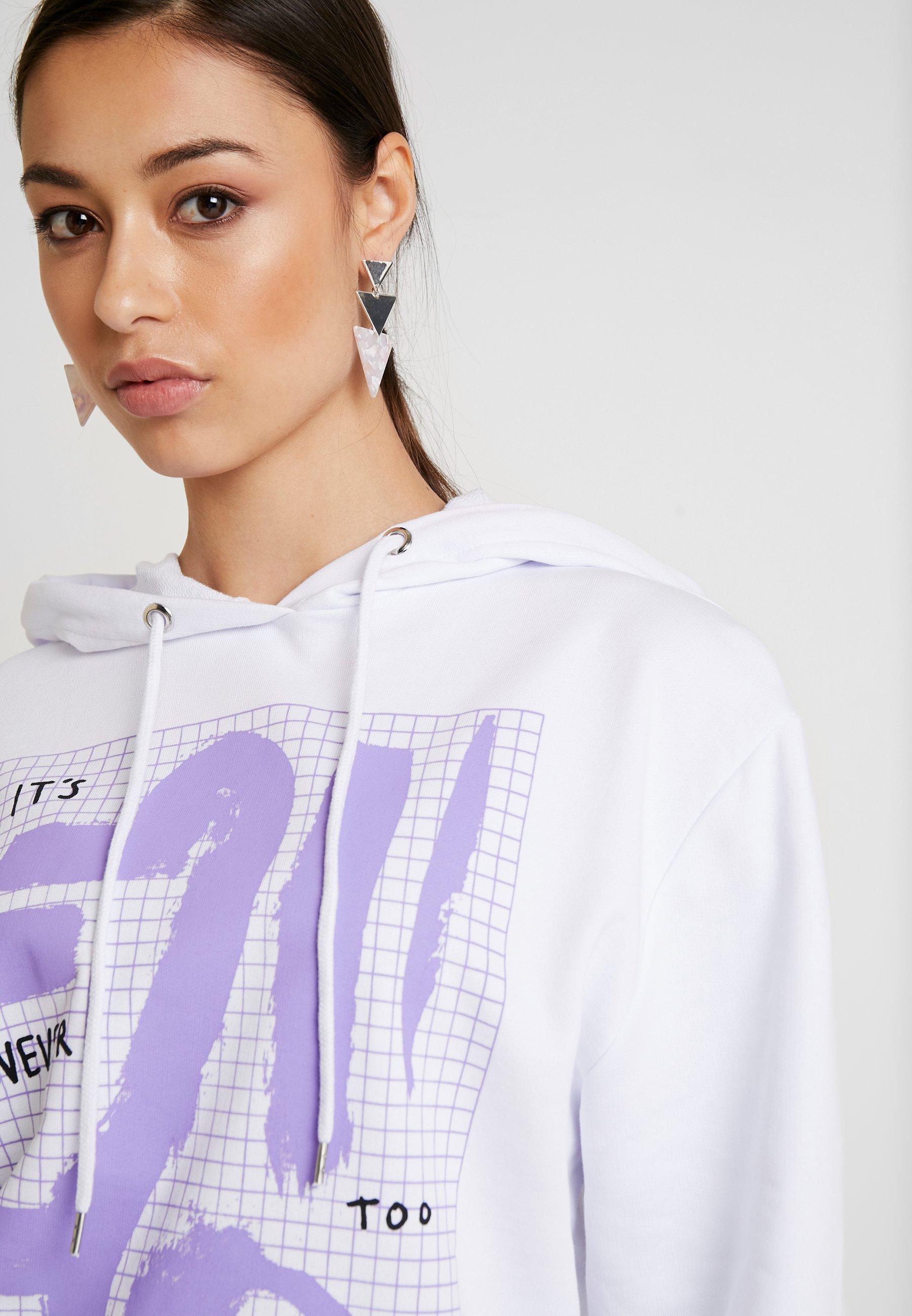 NA-KD SIGN PRINT BASIC HOODIE - Bluza z kapturem - white