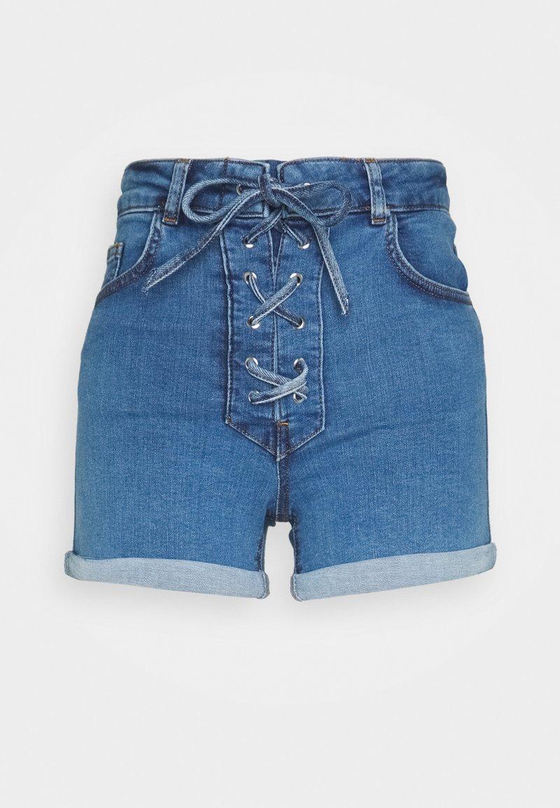 NA-KD - Pamela Reif x NA-KD TIE DETAIL - Denim shorts - light blue