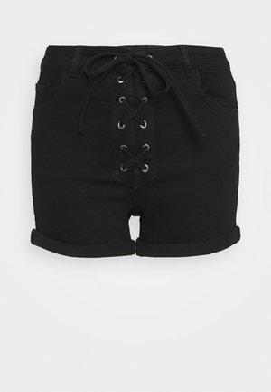 Pamela Reif x NA-KD TIE DETAIL - Szorty jeansowe - black