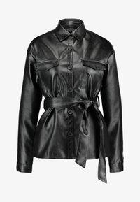 NA-KD - BELTED JACKET - Faux leather jacket - black - 4