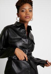 NA-KD - BELTED JACKET - Faux leather jacket - black - 3
