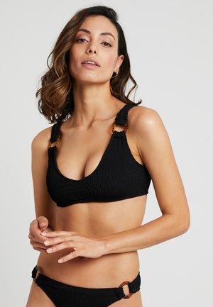 TORTOISE DETAIL SMOCKED - Bikini top - black