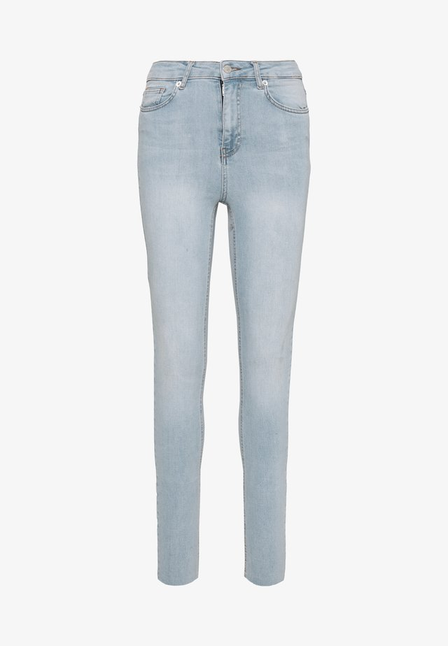 HIGH WAIST RAW - Jeansy Skinny Fit - light blue