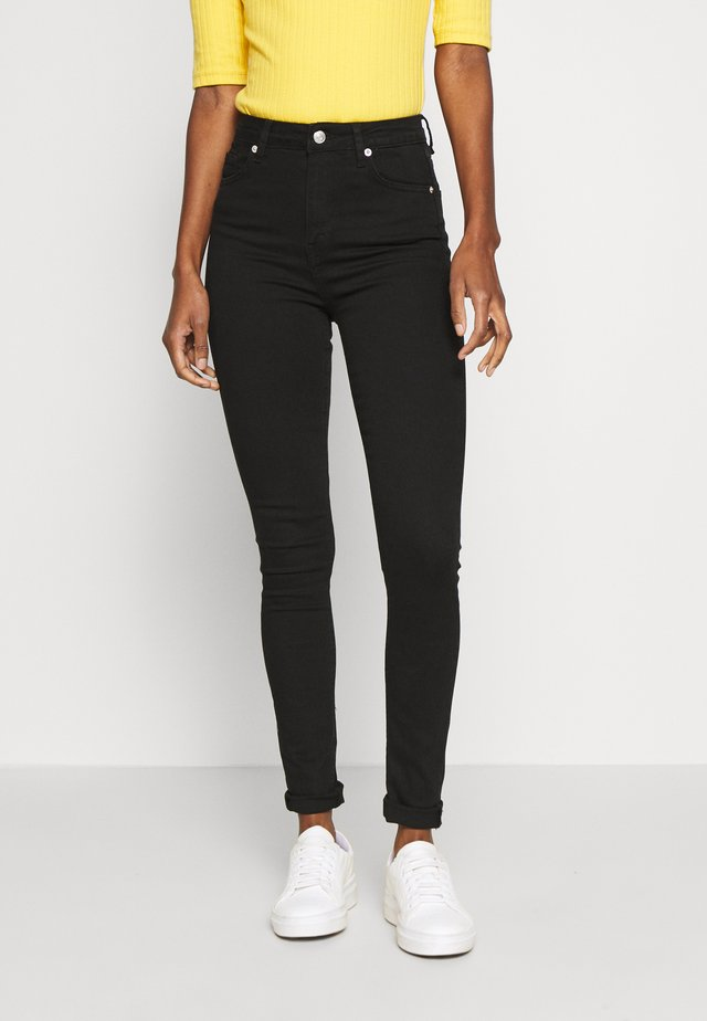 HIGH WAIST RAW - Jeansy Skinny Fit - black