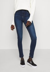 NA-KD Tall - HIGH WAIST OPEN - Jeans Skinny Fit - dark blue - 0