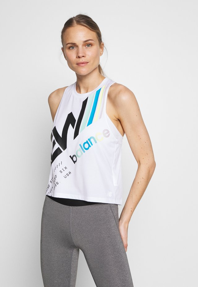 PRINTED VELOCITY CROP TANK - Sports shirt - white/multi