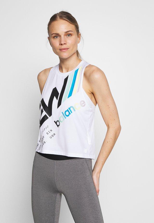 PRINTED VELOCITY CROP TANK - Camiseta de deporte - white/multi