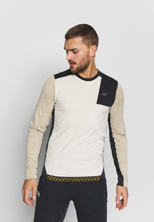 SPEED RUN CREW  - Fleece jumper - beige/black