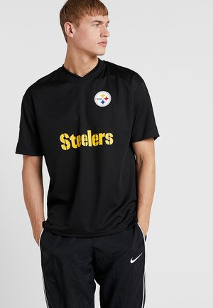 NFL PITTSBURGH STEELERS OVERSIZED WORDMARK TEE - Klubbkläder - black