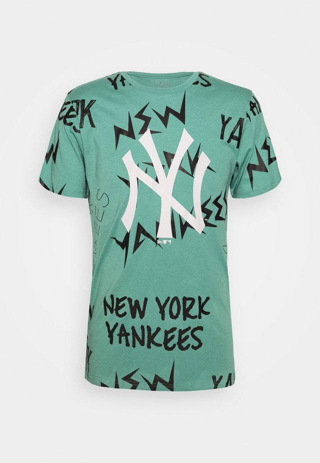 MLB REPEAT WORDMARK TEE NEW YORK YANKEES - Klubové oblečení - mottled teal