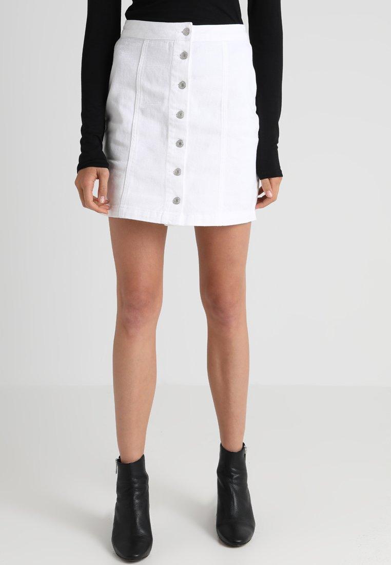 New Look Tall - BUTTON THROUGH SKIRT - A-line skirt - white