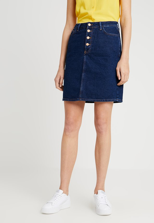 PLACKET SKIRT - Jeansrok - dark blue