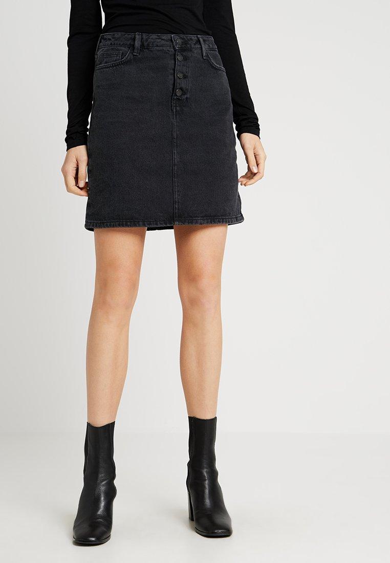 New Look Tall - PLACKET SKIRT - Denimová sukně - black