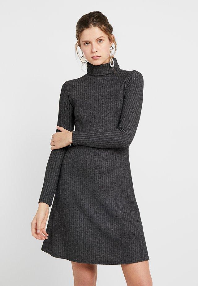 BRUSHED ROLL NECK DRESS - Stickad klänning - dark grey