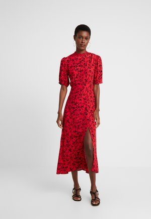 LOUSIA FLORAL HI NECK SPLIT MIDI DRESS  - Vardagsklänning - red/black