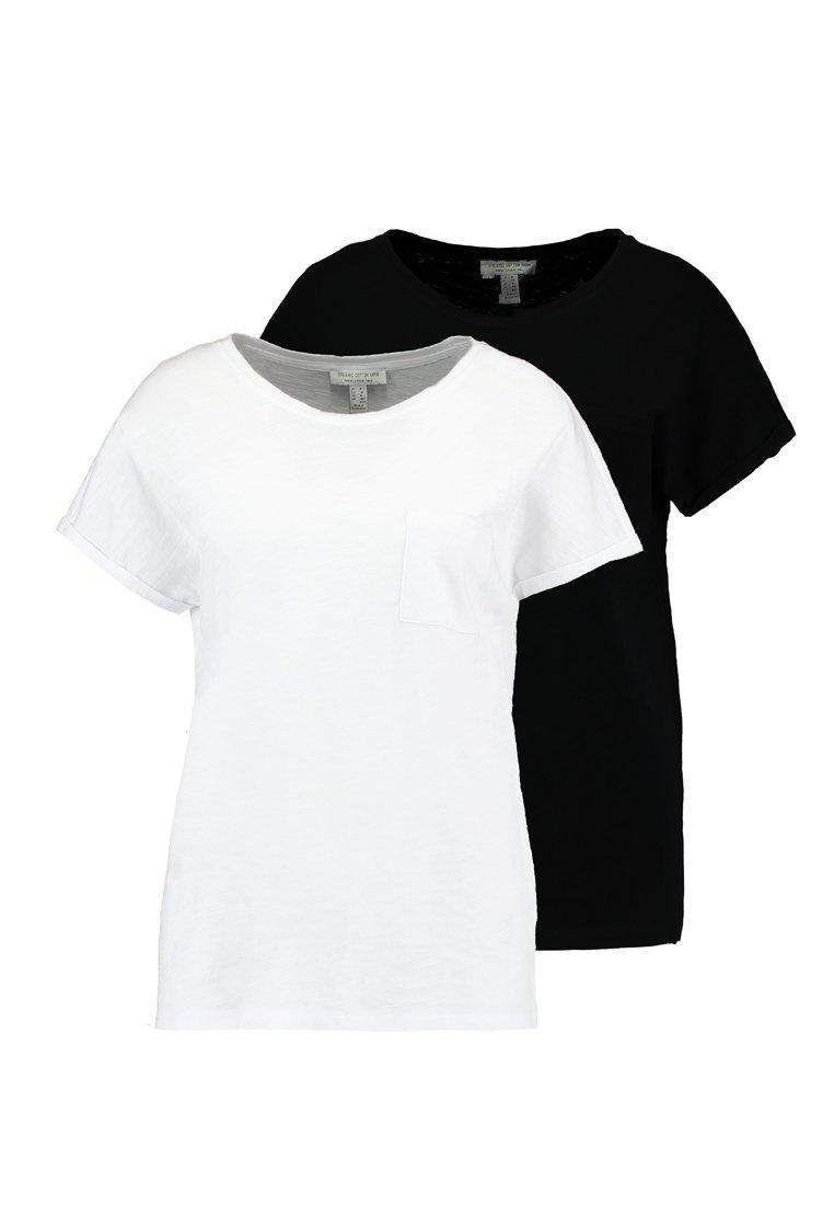 New Look Tall 2 PACK SLUB POCKET TEE - T-shirt basic - black/white