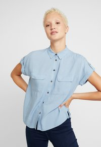 New Look Tall - JEFF PATCH SLUB - Button-down blouse - blue - 0
