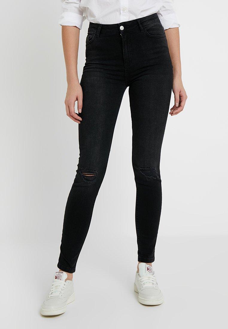 New Look Tall - STRATFORD SLASH DISCO NAME RIP BLACK HALLIE - Jeans Skinny Fit - black