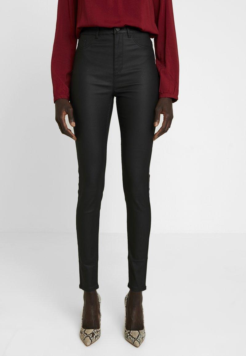 New Look Tall - COATED HALLIE DISCO - Stoffhose - black