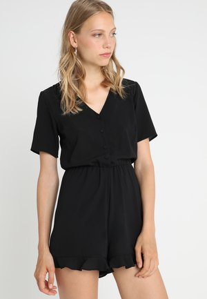 TALL BUTTON THROUGH FRILL HEM PLAYSUIT - Tuta jumpsuit - black