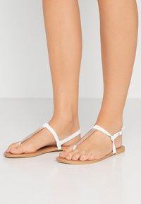 New Look Wide Fit - WIDE FIT HETALLIC - Varvassandaalit - white - 0