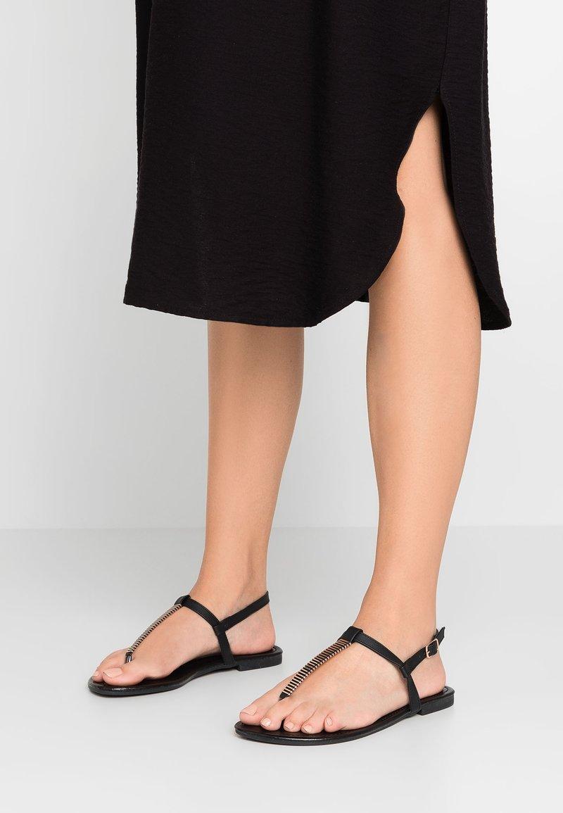 New Look Wide Fit - WIDE FIT HETALLIC - T-bar sandals - black