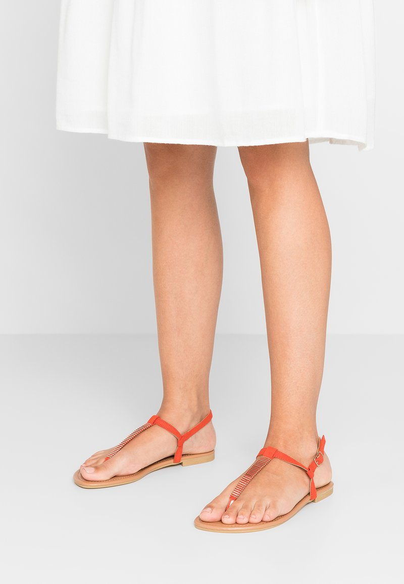 New Look Wide Fit - WIDE FIT HETALLIC - T-bar sandals - orange
