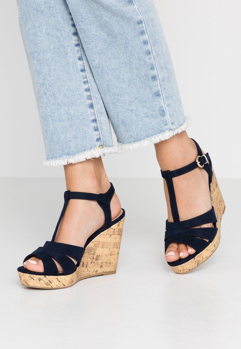 New Look Wide Fit - WIDE FIT POLLY - Sandály na vysokém podpatku - navy