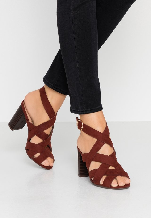 WIDE FIT POSH - High heeled sandals - rust