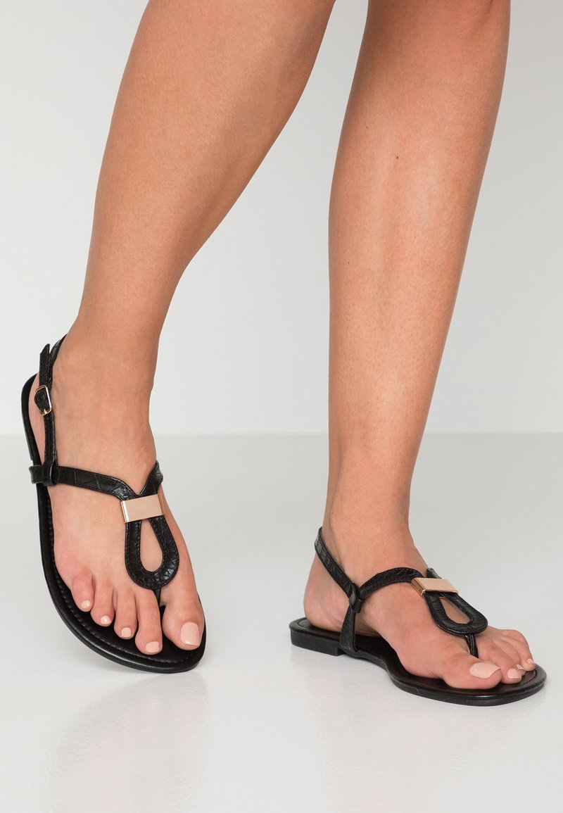 New Look Wide Fit - WIDE FIT HULA - Sandalias de dedo - black