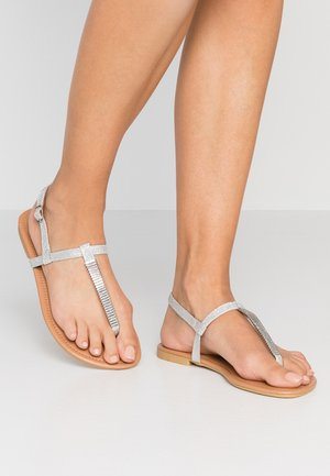WIDE FIT HETALLIC  - T-bar sandals - silver