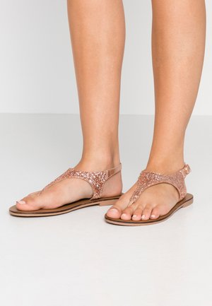 WIDE FIT GLITTERY - T-bar sandals - rose gold