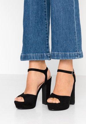 WIDE FIT TIGER - Sandály na vysokém podpatku - black