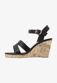 New Look Wide Fit - WIDE FIT POSSUM WEDGE - Korolliset sandaalit - black - 1