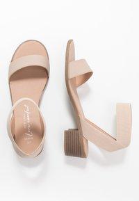 New Look Wide Fit - WIDE FIT POWER BLOCK HEEL - Sandals - oatmeal - 1