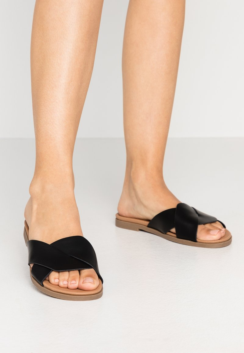 New Look Wide Fit - WIDE FIT HOLLIE COMFY FOOTBED MULE - Matalakantaiset pistokkaat - black