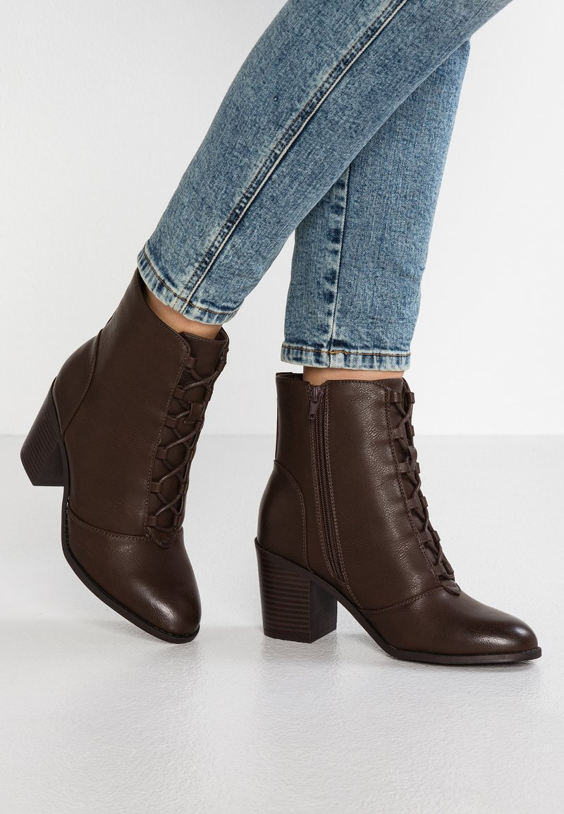 New Look Wide Fit - WIDE FIT BOSE - Lace-up ankle boots - mid brown