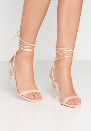 SQUARE HEEL - High heeled sandals - nougat