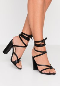 Nly by Nelly - ADORABLE STRAP BLOCK - High heeled sandals - black - 0