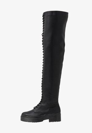 DARING LACE UP BOOT - Platform boots - black