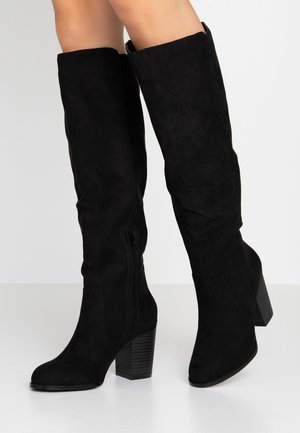BLOCK KNEE HIGH BOOT - Kozaki - black