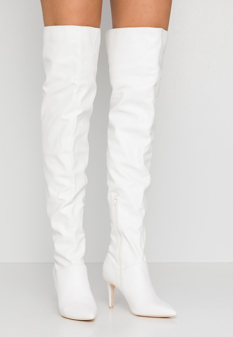 Nly by Nelly - I'M SO EXTRA THIGH HIGH BOOT - Over-the-knee boots - white