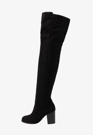 THIGH HIGH WOOD HEEL - Over-the-knee boots - black