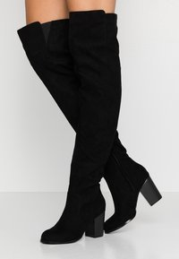 Nly by Nelly - THIGH HIGH WOOD HEEL - Over-the-knee boots - black - 0